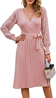 Women's Elegant V Neck Sweater Dress Long Sleeve Pleated Knitted Midi Dress with Belt