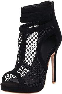 KISSYAYA Femmes Sandales Sexy Nubuck Stiletto Soirée