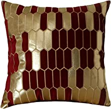 Artcest Decorative Velvet Square Throw Pillow Case, PU Patchwork, Sofa Soft Golden Honeycomb Plaid Pattern, Comfortable Thick Couch Cushion Cover, 18x18 (Wine Red)