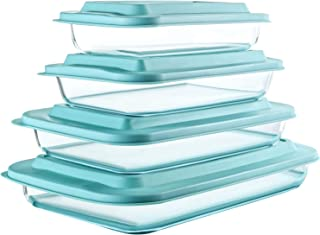 8-Piece Deep Glass Baking Dish Set with Plastic lids,Rectangular Glass Bakeware Set with BPA Free Lids, Baking Pans for La...