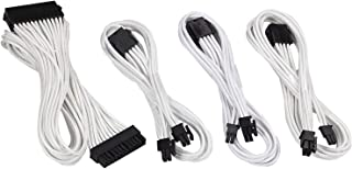 Antec Sleeved Cable - Power Supply Cable Extension Kit with Extra-Sleeved 24 PIN / 4+4 PIN / 6+2 PIN with Combs- White (19.6inch/50cm)