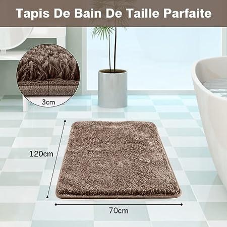 Tapis de Bain, 70 x 120 x 3 cm, Tapis de Bain Antiderapant Tapis de Douche Microfibre Doux Lavable en Machine Absorbant Tapis de Sol Salle de Bain Moelleux pour Sortie de Baignoire Toilette (Marron)