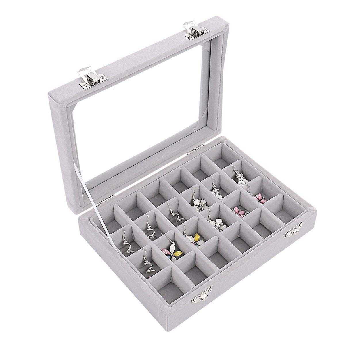 Velvet Glass Ring Earring Jewelry Organizer Box Tray Holder Storage Case Display