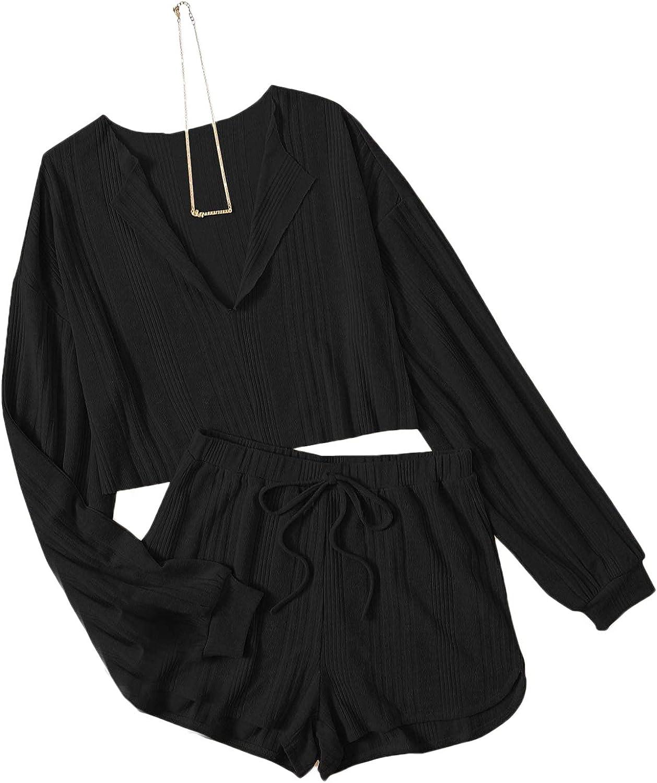 Romwe Women's Plus Size 2 Piece Pajama Set Ribbed Long Sleeve Top and Shorts Pj Set Sleepwear