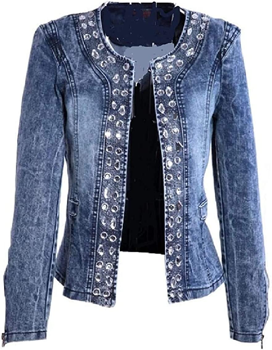 Women Fashion Jacket Jeans Denim Long Sleeve Slim Sequins Jacket Coat
