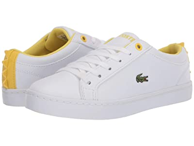Lacoste Kids Straightset 120 1 CUC (Little Kid) (White/Yellow) Kid