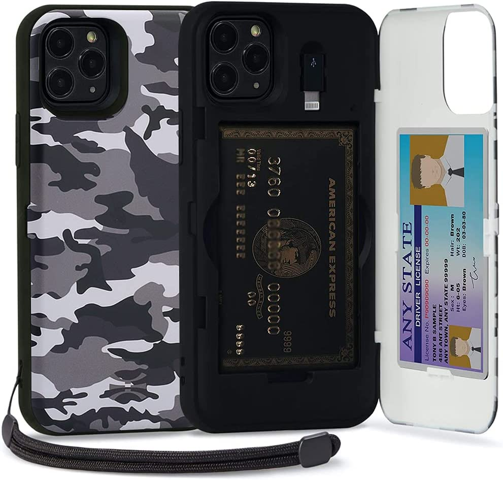 TORU CX PRO Compatible with iPhone 11 Pro Wallet Case - Protective Camo Pattern Dual Layer with Hidden Card Holder, ID Slot Hard Cover, Strap, Mirror & Lightning Adapter - Camouflage