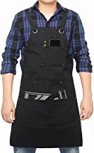 Tool Apron with Pockets Adjustable Heavy Duty Waxed Canvas Shop Apron Work Apron Fits Men..