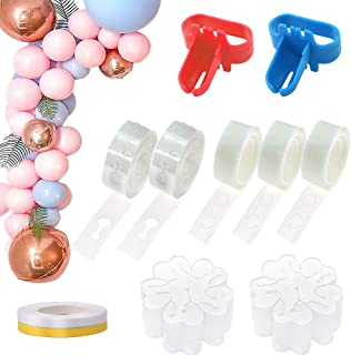 RUBFAC Balloon Arch Kit 326pcs, Balloon Decorating Strip Tap 32 Feet, 300 Glue Dots, for Balloon Arch Garland, Balloon Arch Tape, Strip Decoration, 64 Feet Ribbon, 2 Balloon Tie Tools, 20 Flower Clips