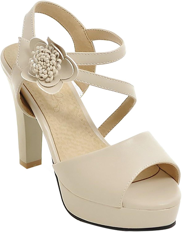 Calaier Womens Salsh Open-Toe 10CM Block Heel Hook-and-Loop Sandals shoes