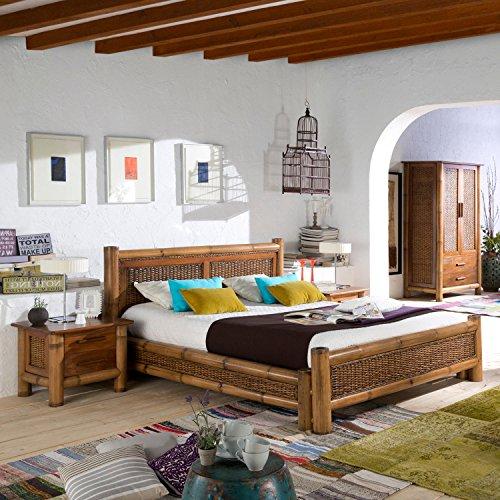 Kolonial Bett 180x200 Natur Bambus-Bett Kolonialstil Möbel Bambusbetten Holzbett
