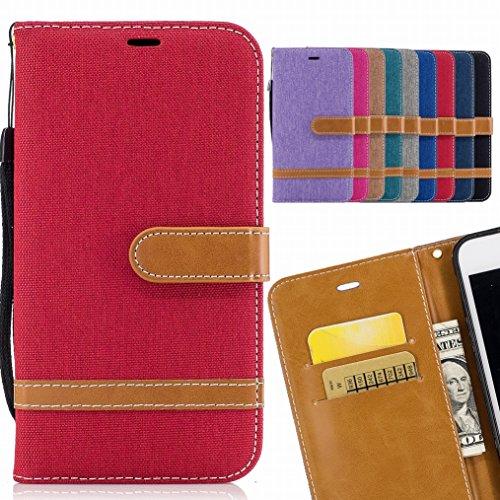LEMORRY Handyhülle für LG K8 (2017) / LG X300 / LG M200N Hülle Tasche Leder Flip Cover Schutzhülle Schutz Magnetisch Soft Weich Silikon Cover Schale Mit KRotitkarten-Slot, Denim-Stil Rot