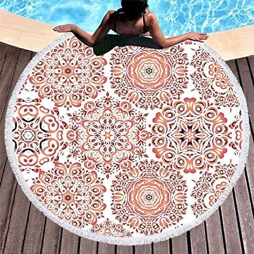BSSDG Toalla Playa Mandala Toallas de Playa Redondas de Verano Toalla de Ducha de baño con Estampado geométrico Yoga Picnic Circle Mat Bikini Cover Up Serviette de Plage, Patrón 6