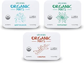 Simply Natural Organic Breath Mints, Peppermint, Cinnamon, Wintergreen, Organic Certified, Vegan, 50 Pieces, 3 Pack