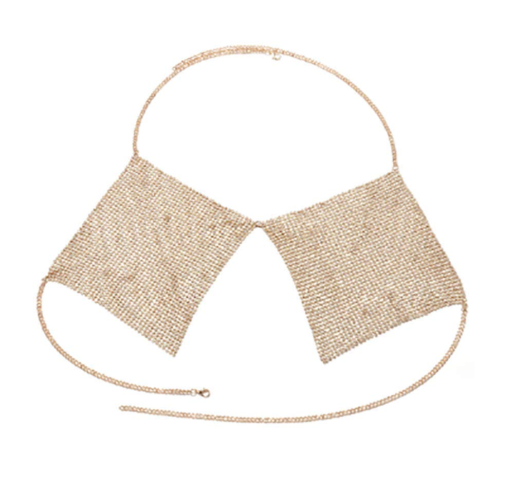 Denifery Sexy Beach Bikini Body Chain Geometric Diamond Chest Chain (Gold)