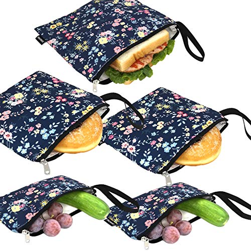 Reusable Sandwich Bags Washable - Cloth Reusable Snack Bags Dishwasher Safe...