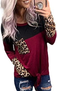 Loyomobak Women's Long Sleeve Plus Size Loose Fit Crewneck Patchwork Leopard Print T Shirts with Pockets