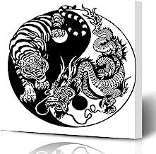 Ahawoso Canvas Prints Wall Art Printing 16x16 Chinese Dragon Tiger Yin Yang Harmony Animals Wildlife Union Tattoo White Black Circle Opposite Painting Artwork Home Living Room Office Bedroom Dorm