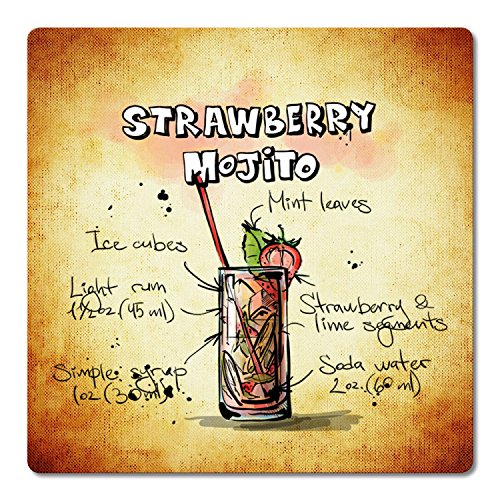 ADDIES Lot de 6 Dessous-de-Verre rectangulaires en Verre avec Couvercle Transparent et Dos en liège Motif Strawberry Mojito-3