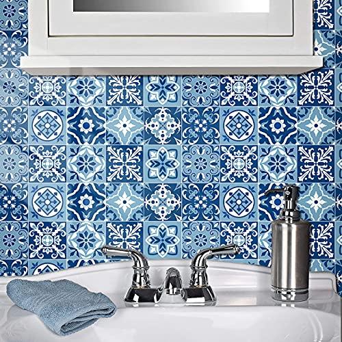 Adhesivo de tela para cuarto de baño y cocina, 20 piezas autoadhesivas de Mosaico, azulejos de pared azules cuadrados impermeables, azulejos de bricolaje para decoración del hogar (20 x 20 cm)