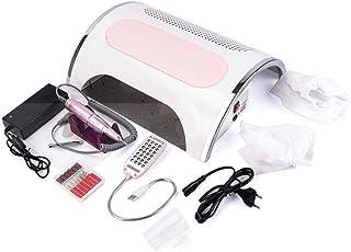 Taladro Eléctrico de Uñas 5 En 1 con Pieza de Mano de 30000 RPM, Aspiradora de Polvo de Uñas, Lámpara LED UV de 72 W, Equipo de Decoración de Uñas (Color : Pink, Size : 35x30x11cm)