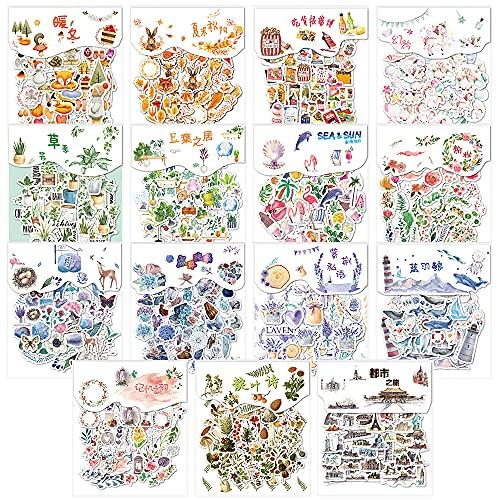600 Blatt Scrapbooking Aufkleber, Sticker Bullet Journal, Scrapbook Stickers, Pflanze | Blume | Vintage |Scrapbook Stickers für Scrapbook Kalender Notizbuch Fotoalbum DIY Tagebuch Umschlag Dekoration