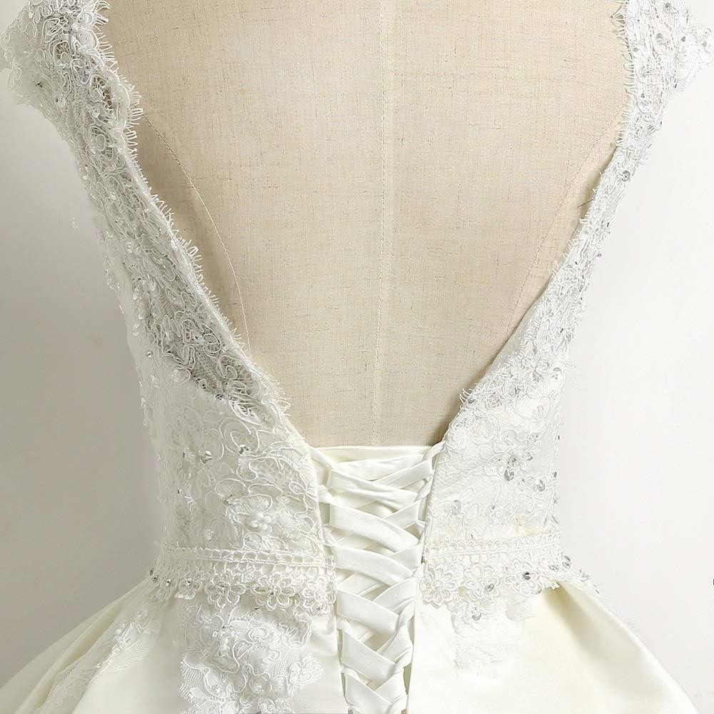 WANGCY Robes de mariée Robe de mariée Femme en Dentelle à Manches Longues Robe de mariée Robe élégante Robe de mariée pour fête de Mariage White