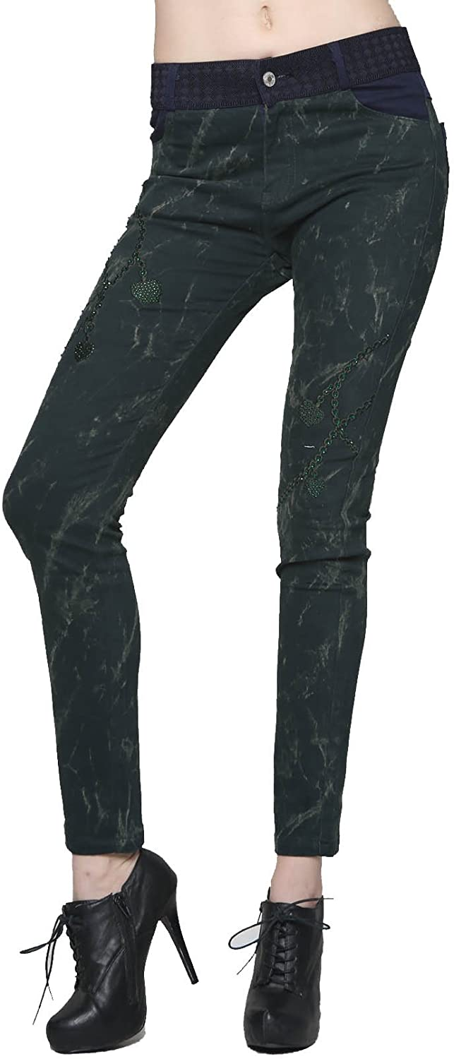 Fashion Mic Womens Casual Pants with Rhinestones and Chain Links