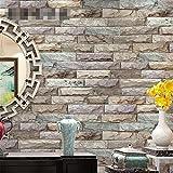 lqgpsx PVC Retro 3D Imitación Ladrillo Textura Imitación Piedra Textura Papel Tapiz Decoración Bar Dormitorio TV Pared Sala de Estar Papel Tapiz -53cm (W) * 10m (L), A