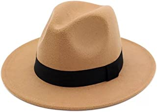 ee810db2 JOYEBUY Women Lady Wide Brim Warm Wool Fedora Hat Classic Belt Panama Hat