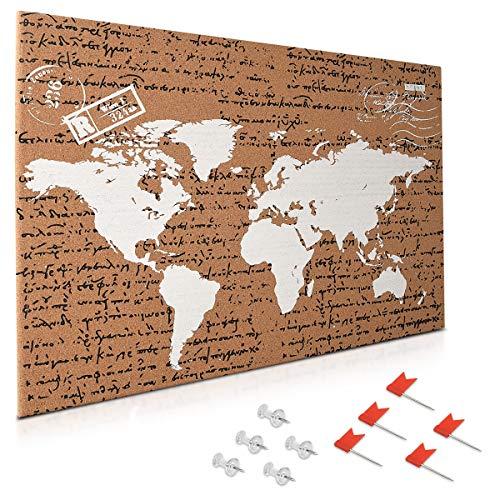 Navaris tablero de corcho - Tablero de mapa del mundo 60x40CM con 10 chinchetas rojas y transparentes - Pizarra de corcho con diseño de mapamundi