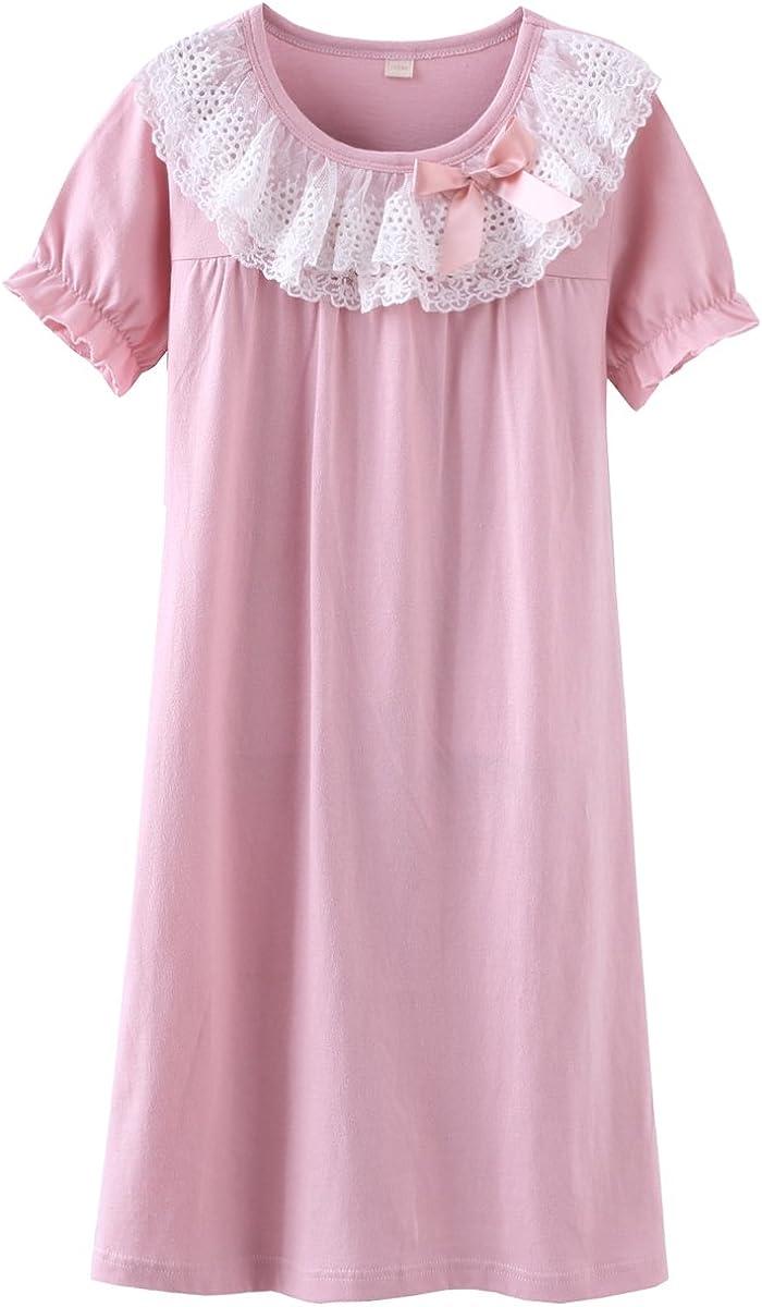 DGAGA Little Girls Princess Nightgown Cotton Lace Bowknot Sleepwear Nightdress Pink 6-7 Years /130cm
