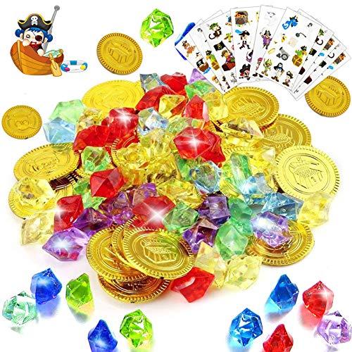Sunshine smile Piraten Edelsteine, 288 Stück Piraten Schmucksteine Set,Gold-Münzen Spielzeug,Goldmünzen des Piratenschatz Spielzeugs,Goldmünze und Schmucksteine,Goldmünzen Deko,für Kinder Party Favor