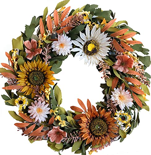 Sunflower Wreath, 20 inch, with seasonal flowers and leaves