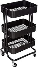M.S.Premium 3 Tier Rolling Metal Shelving Utility Storage Cart with Wheels, Organizer Trolley (Black)