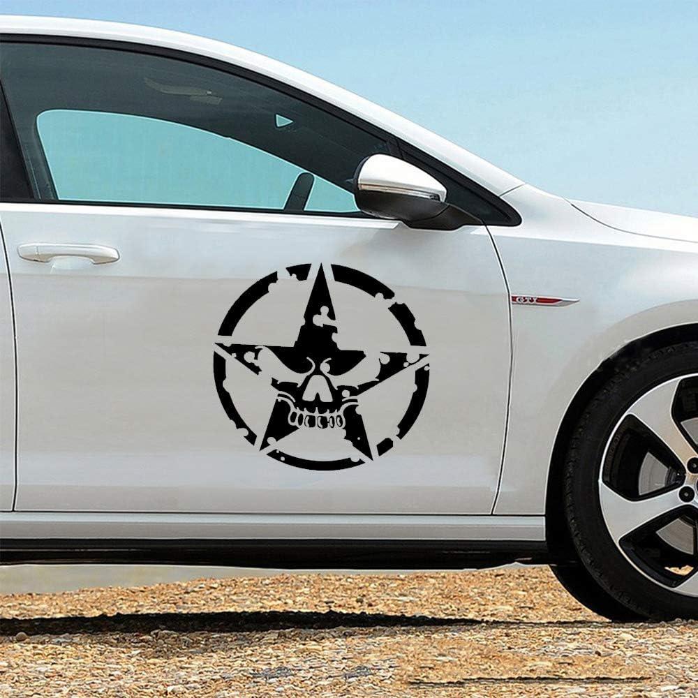 Black Vinyl Graphic Decals for Cars//Truck//Ford//Jeep Wrangler//Vans Universal Scratch Hidden Auto Car Sticker 1 Pack Skull Star Decals Stickers Practlsol Car Hood Decal