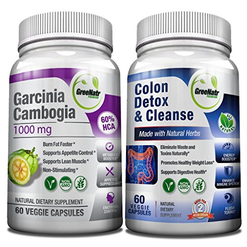15 Day Colon Cleanser Detox + Garcinia Cambogia Weight Loss Bundle with Probiotic, Natural Laxatives for Constipation Relief for Adults and 1000 mg of HCA Extract. AS SEEN ON TV- 120 Vegan Capsules
