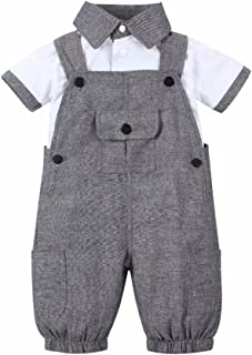 Baby Boy 2 Piece Short Sleeved Gentleman T-Shirt Overalls Outfit Set