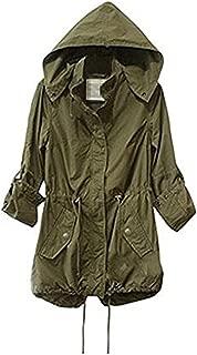 Taiduosheng Women's Army Green Anorak Jacket Lightweight Drawstring Hooded Military Parka Coat