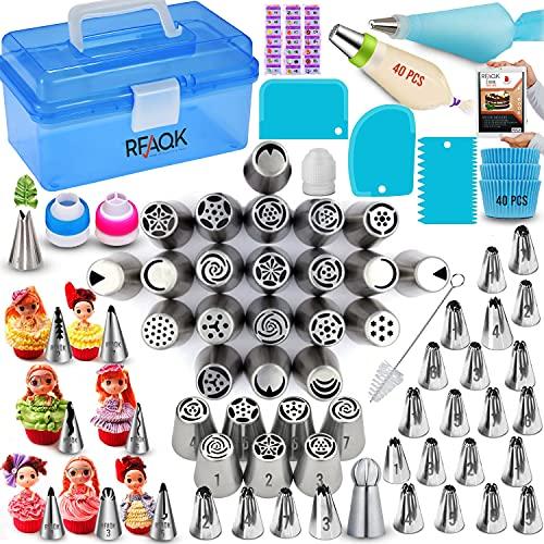 RFAQK Juego de 150 puntas rusas con caja de almacenamiento para decoración de tartas, 61 boquillas numeradas (28 puntas rusas+24 puntas de glaseado+7 puntas coreanas+1 punta de...