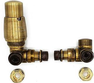 Izquierda Versión con Accesorios Cobre (Cu) Latón Antiguo Termostático + Lockshield Angular Conjunto de Válvulas Radiador Doble Tubo