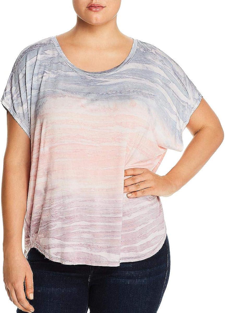 Cupio Womens Pink Ombre Short Sleeve Scoop Neck T-Shirt Top Size 1X