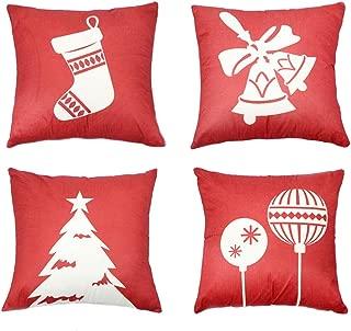 JOYco Christmas Pillowcase Decorative Square Sofa Pillow Cover Cotton Linen Exquisite Print for Living Room, Bedroom (18X18 inch)