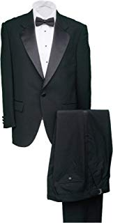 Mens 100% Wool Black Notch Lapel Tuxedo Suit