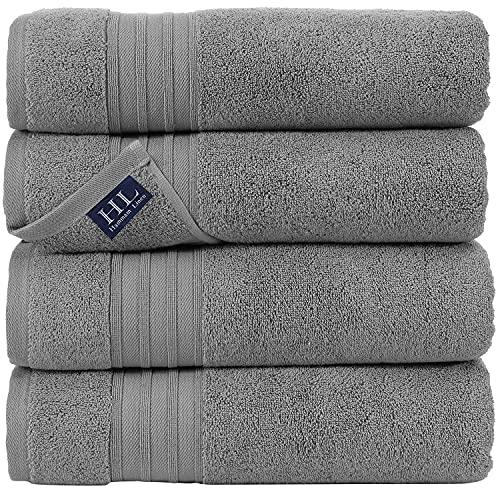 Hammam Linen Cool Grey Bath Towels 4-Pack - 27x54 Soft and Absorbent,...