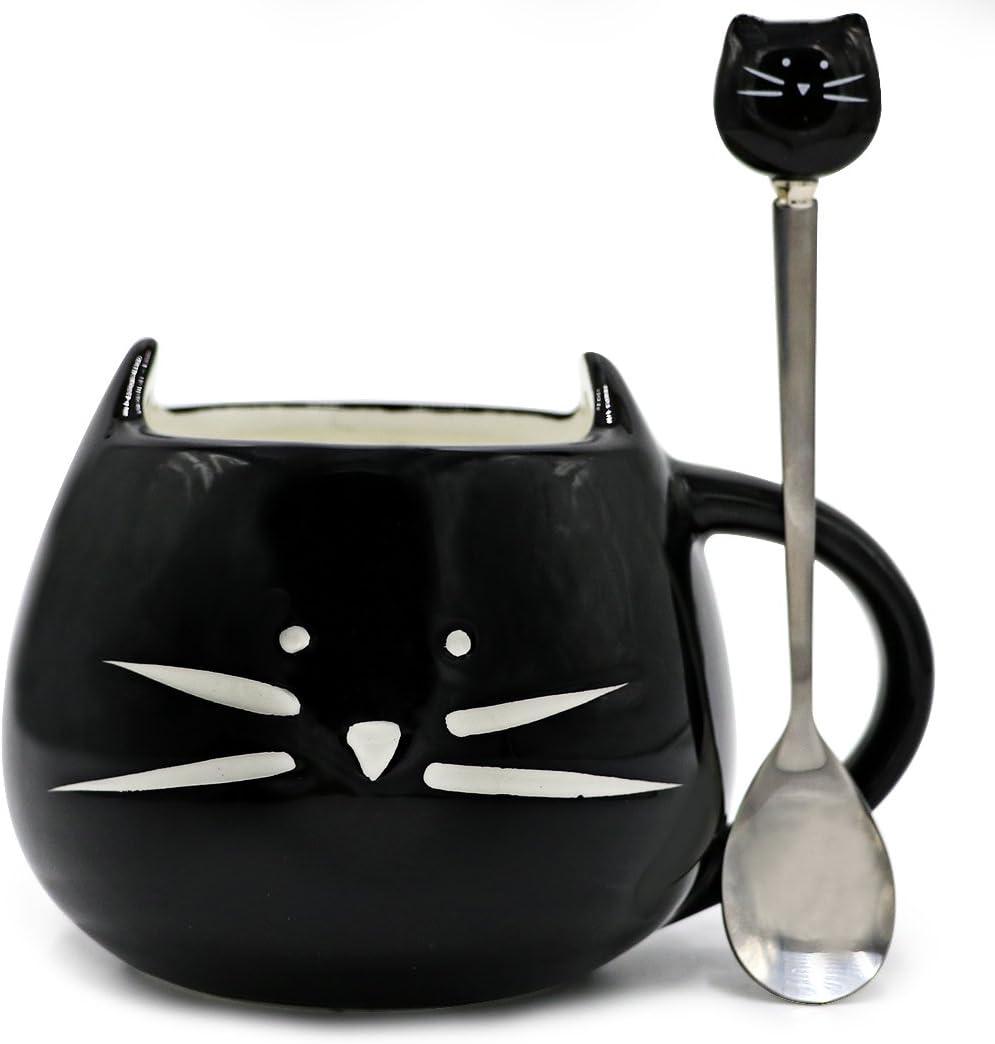 Teagas Cute Cat Mug 12 oz - Cute Black Kitty Morning Coffee Ceramic Mug and Cute Cat Spoon Set, Gift for Crazy Cat Lady