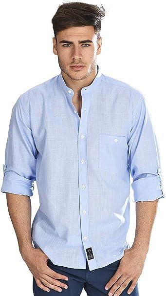 Camisa Manga Larga con Tejido Tipo Lino Azul y Cuello Mao ...