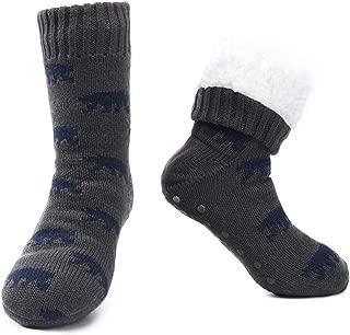 Mens Fuzzy Warm Slipper Socks Non Slip Skid Winter Cozy Knit Fleece Lining Indoor Socks with Grips for Men Teen