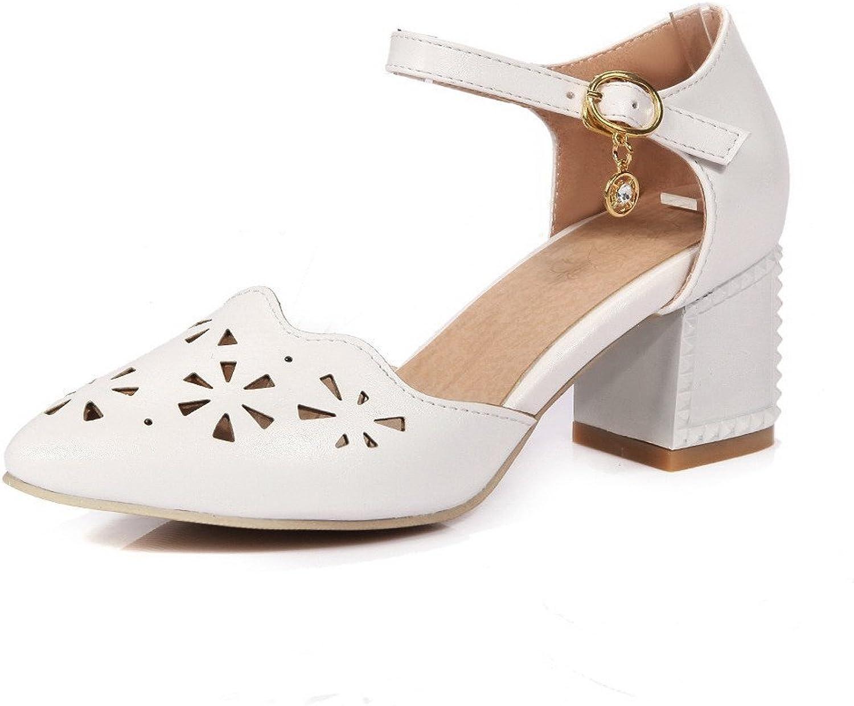 AllhqFashion Women's Closed Toe Kitten Heels Solid Buckle Sandals