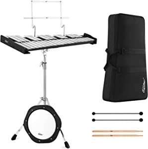 Eastar Professional 32 Note Glockenspiel Xylophone Bell Kit Percussion Kit for Adult with 8 Inch Drum Practice Pad, Stand, Glockenspiel Stick, Drum Sticks and Carrying Bag